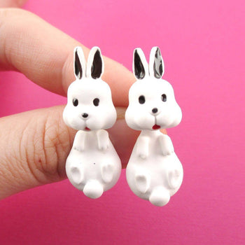3D Bunny Rabbit Shaped Two Part Stud Earrings in White