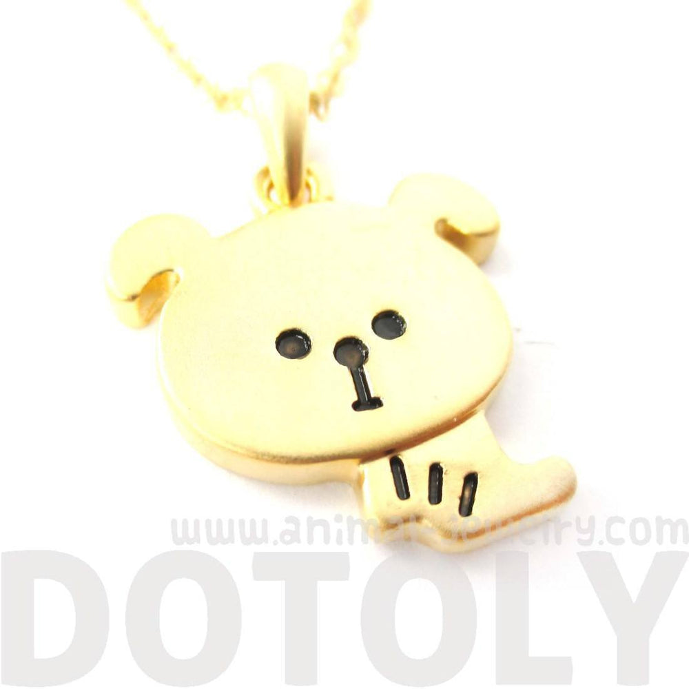 Cartoon Puppy Dog Shaped Pendant Necklace in Gold | Animal Jewelry