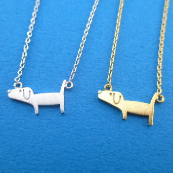 Cute Dachshund Silhouette Shaped Charm Necklace | Gifts for Dog Lovers