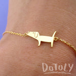 Cute Dachshund Wiener Dog Shaped Charm Bracelet in Gold | Animal Jewelry