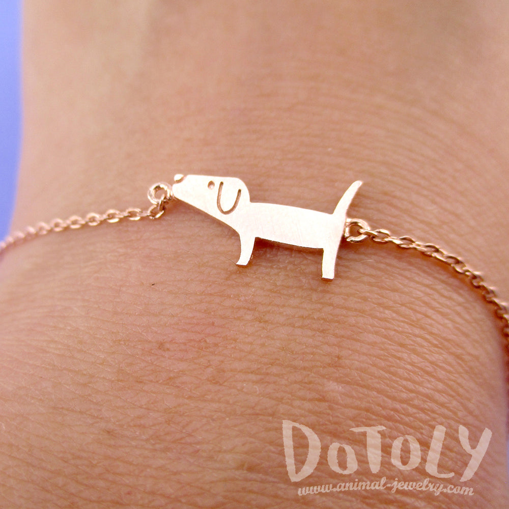 Cute Dachshund Wiener Dog Shaped Charm in Rose Gold | Animal Jewelry
