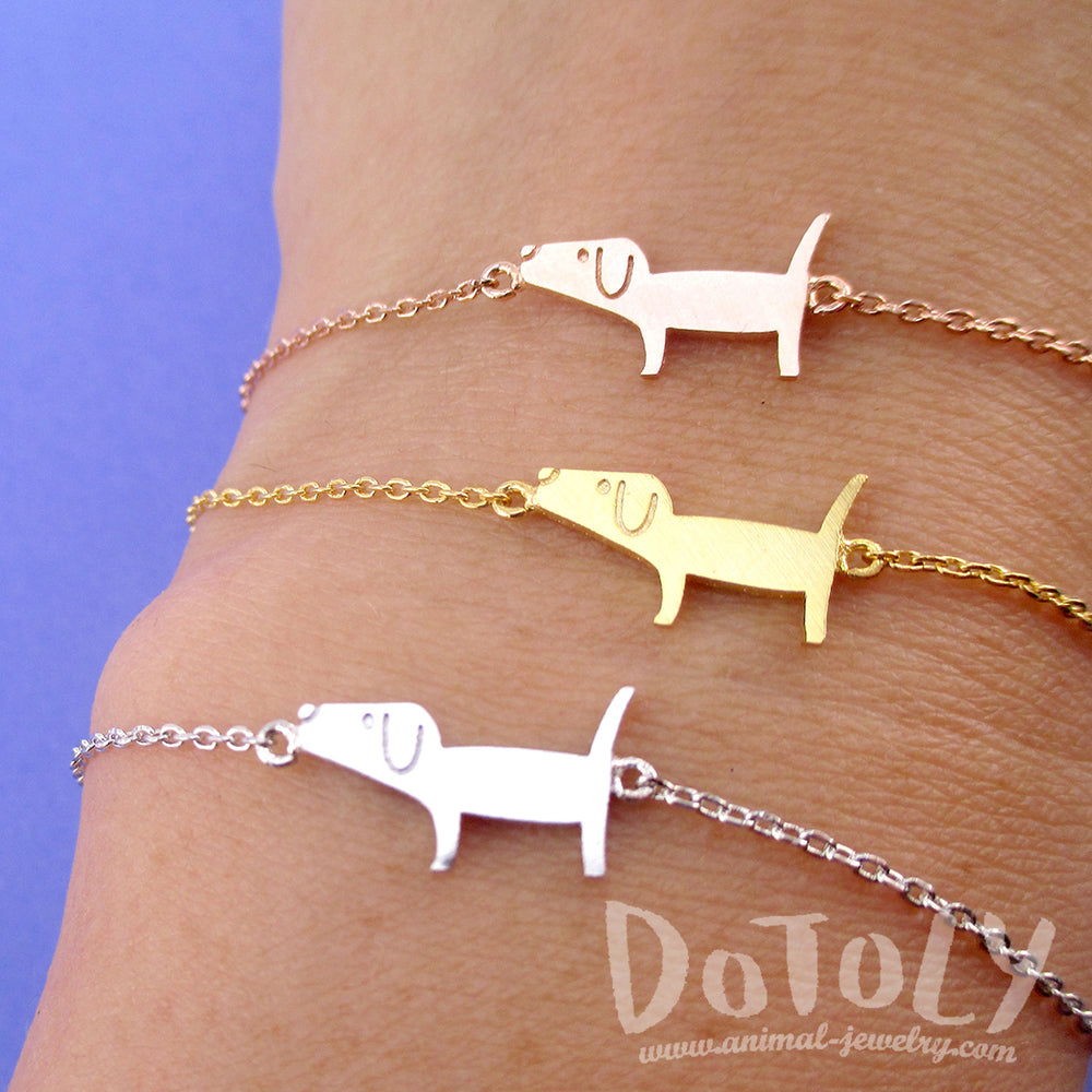 Cute Dachshund Wiener Dog Shaped Charm Bracelet | Animal Jewelry