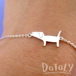 Cute Dachshund Wiener Dog Shaped Charm Bracelet in Silver | Animal Jewelry