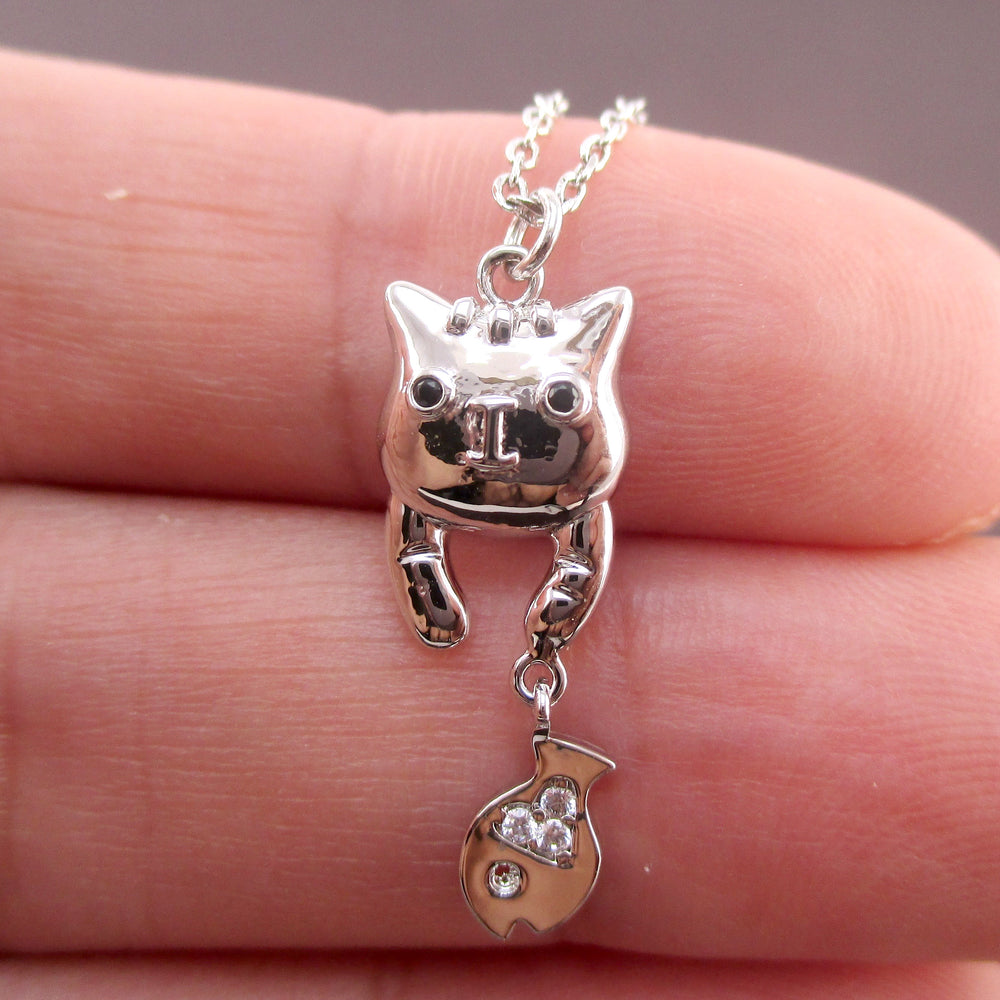 Cute Dangling Kitty Cat and Tiny Fish Shaped Charm Necklace