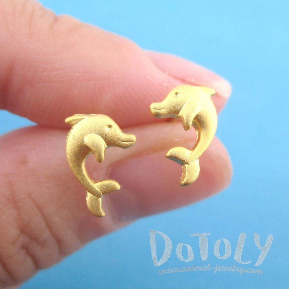 Cute Dolphin Shaped Marine Life Allergy Free Stud Earrings in Gold