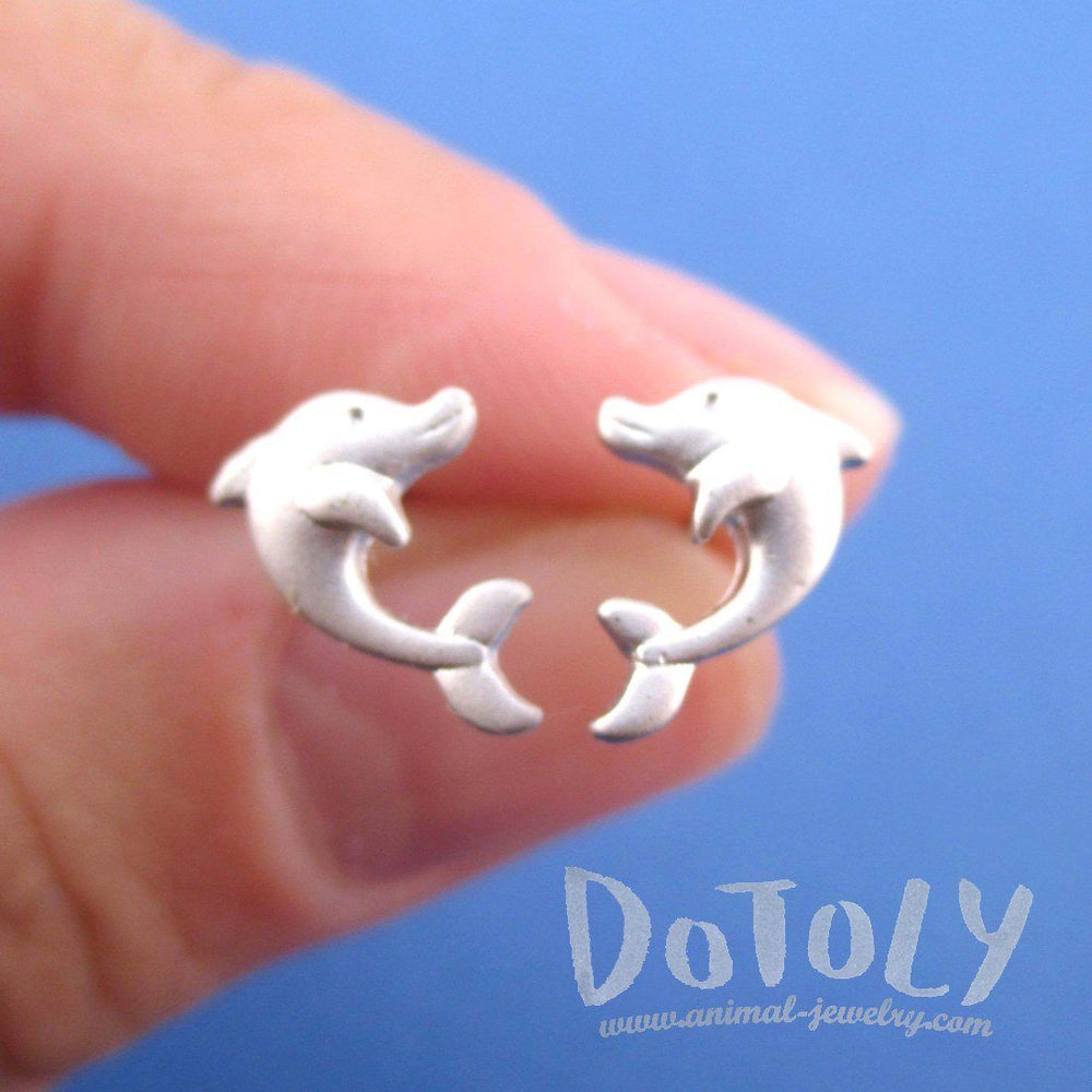 Cute Dolphin Shaped Marine Life Allergy Free Stud Earrings in Silver