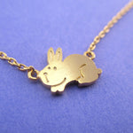 Cute Fluffy Bunny Rabbit Hare Shaped Pendant Necklace in Gold