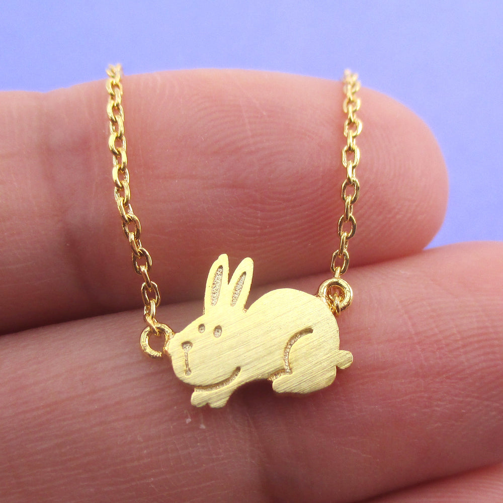 Cute Fluffy Bunny Rabbit Hare Shaped Necklace in Gold | Animal Jewelry