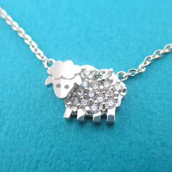 Cute Fluffy Rhinestone Sheep Shaped Pendant Necklace in Silver