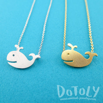 Happy Smiling Whale Pendant Necklace in Gold Silver | Animal Jewelry