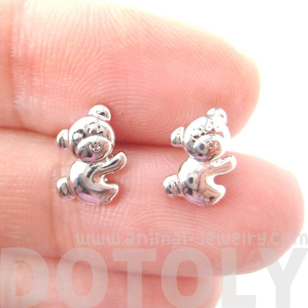 Cute Koala Teddy Bear Shaped Animal Themed Stud Earrings in Silver
