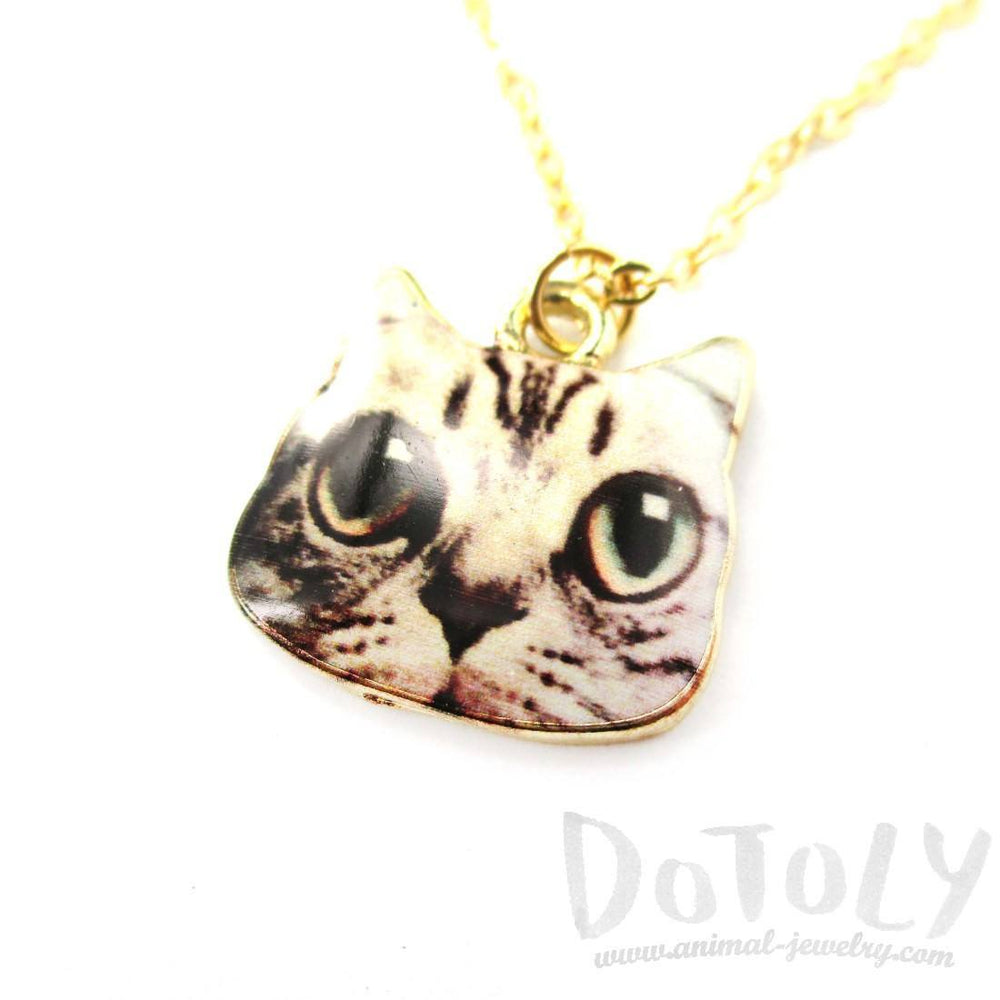 Cute Manx Kitty Cat Face Shaped Charm Necklace