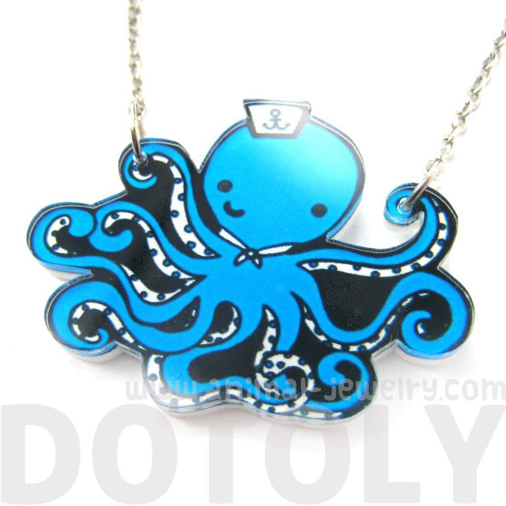 Cute Octopus Wearing A Sailor Hat Shaped Acrylic Pendant Necklace