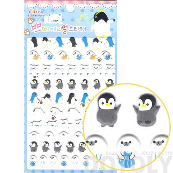 Cute Penguins Otters Polar Bear Shaped Arctic Animal Puffy Stickers