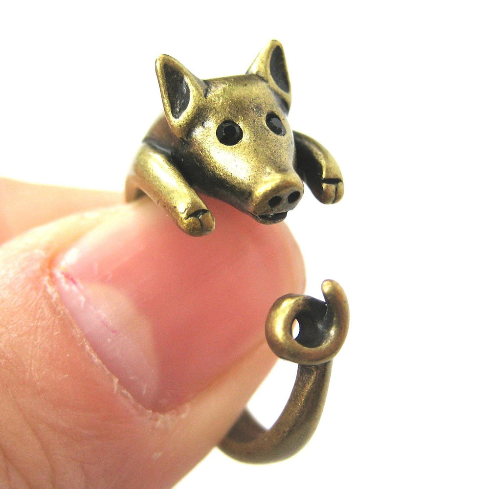 Brass Miniature Piglet Pig Shaped Realistic Animal Inspired Rings for Women and Girls