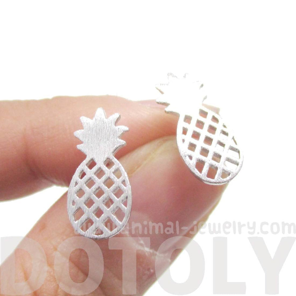 Cute Pineapple Shaped Stud Earrings in Silver | DOTOLY