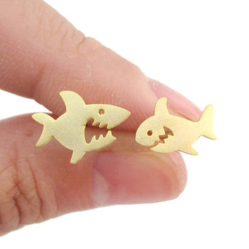 Cute Shark Shaped Sea Creatures Stud Earrings in Gold