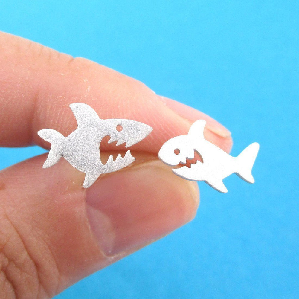Cute Great White Shark Shaped Stud Earrings in Silver