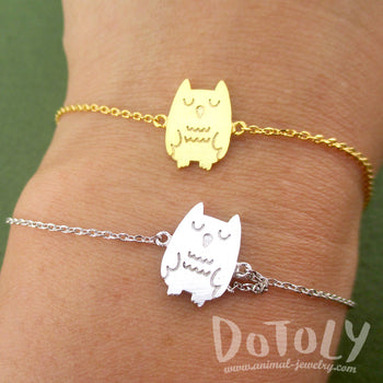 Cute Sleepy Owl Bird Shaped Charm Bracelet for Animal Lovers | DOTOLY