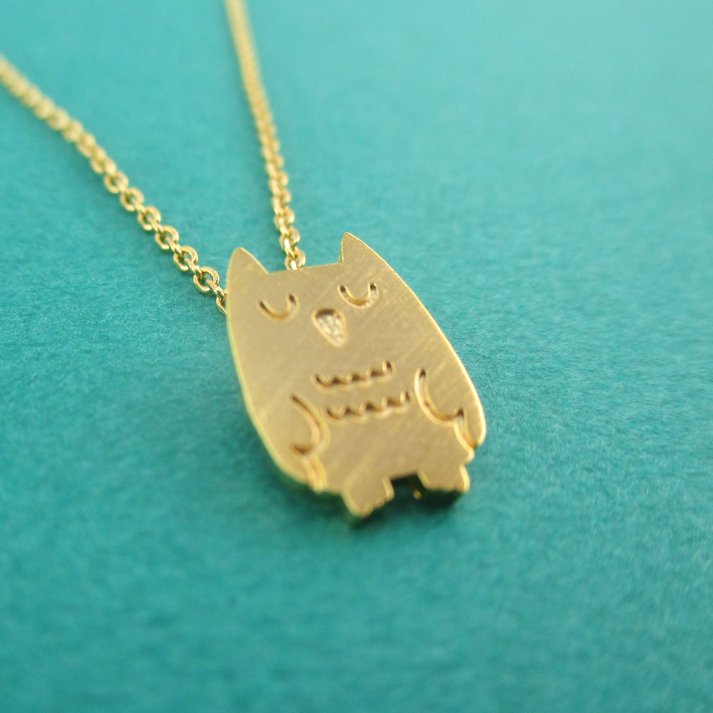 Cute Sleepy Owl Bird Shaped Pendant Necklace in Gold | Animal Jewelry