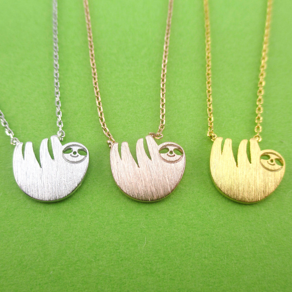 Cute Smiley Dangling Sloth Shaped Animal Inspired Pendant Necklace