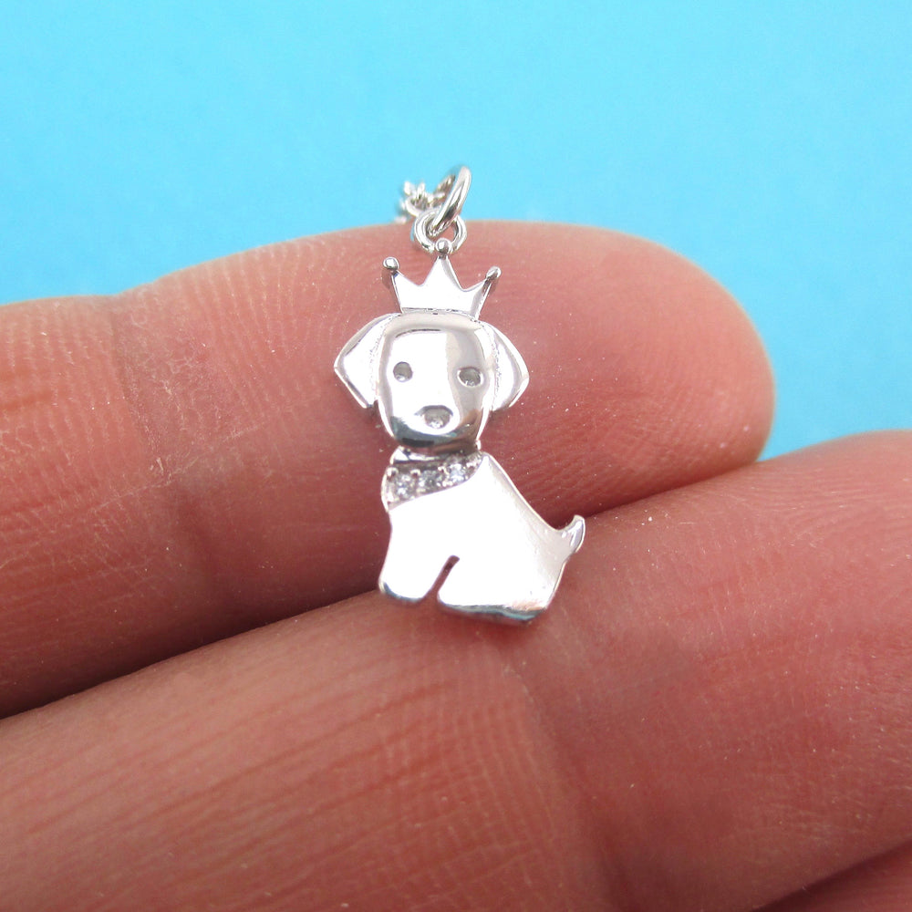Cute Tiny Princess Puppy with Crown Dog Shaped Pendant Necklace