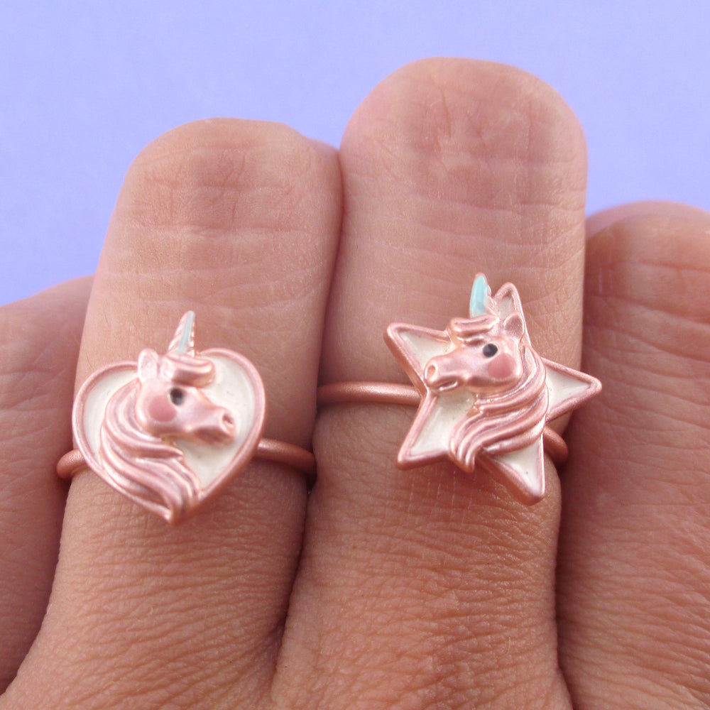 Cute Unicorn Themed Heart and Star Shaped Adjustable Rings | DOTOLY