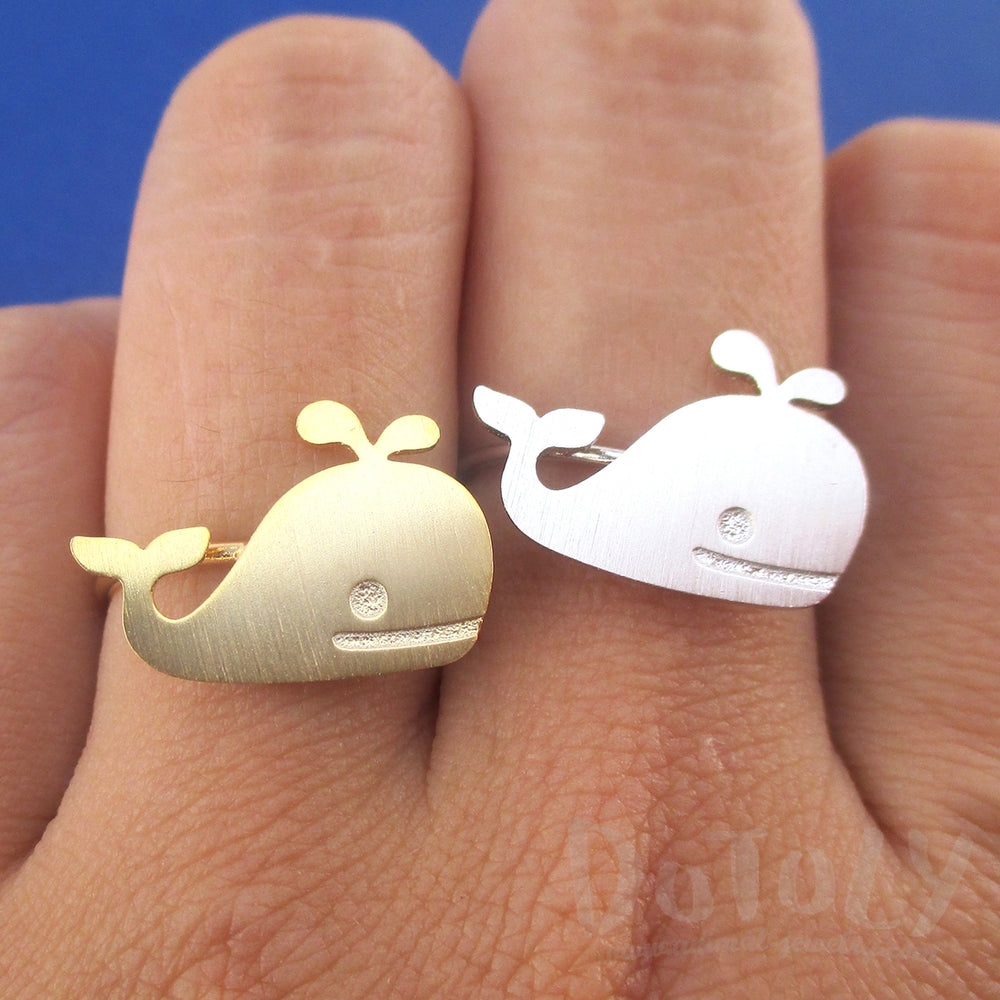 Cute Whale Silhouette Shaped Adjustable Animal Ring in Silver or Gold