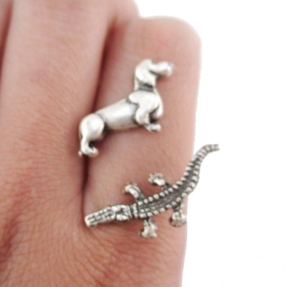 Dachshund and Crocodile Adjustable Wire Wrap Ring in Silver | DOTOLY