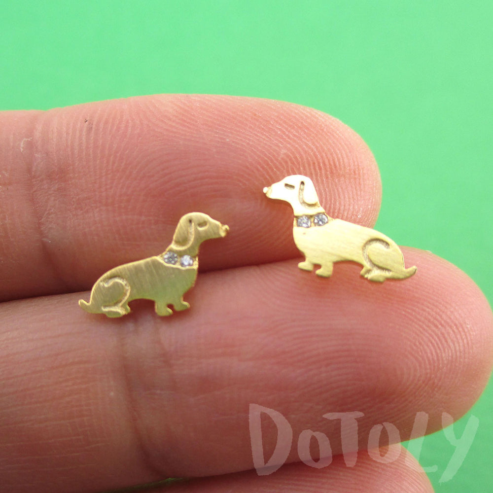 Dachshund Puppies Shaped Stud Earrings with Rhinestones in Gold