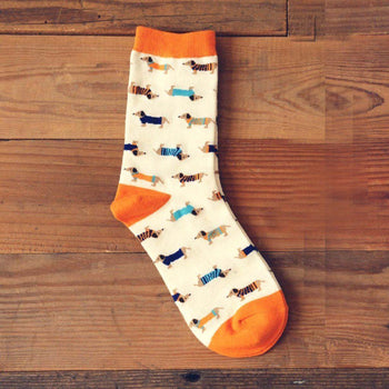 Dachshund Puppy Dog Print Animal Themed Socks in White