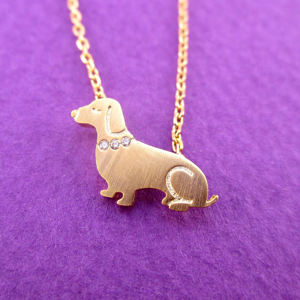 Dachshund Puppy Shaped Charm Necklace with Rhinestones in Gold for Dog Lovers