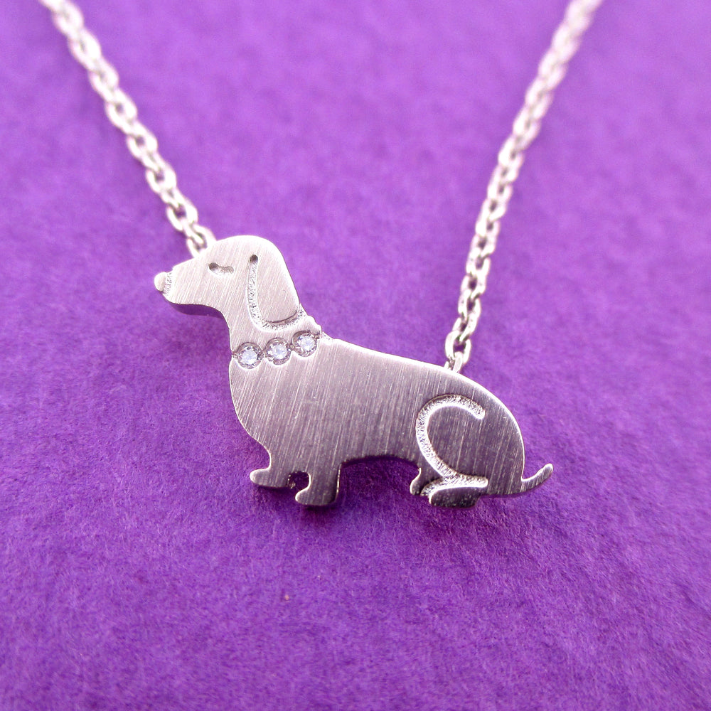 Dachshund Puppy Shaped Charm Necklace with Rhinestones in Silver for Dog Lovers