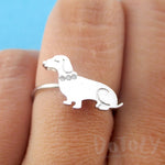 Dachshund Sausage Dog with Rhinestone Collar Shaped Adjustable Ring in Silver