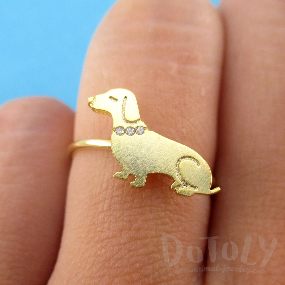 Dachshund Sausage Dog with Rhinestone Collar Shaped Adjustable Ring in Gold