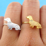 Dachshund Sausage Dog with Rhinestone Collar Shaped Adjustable Ring