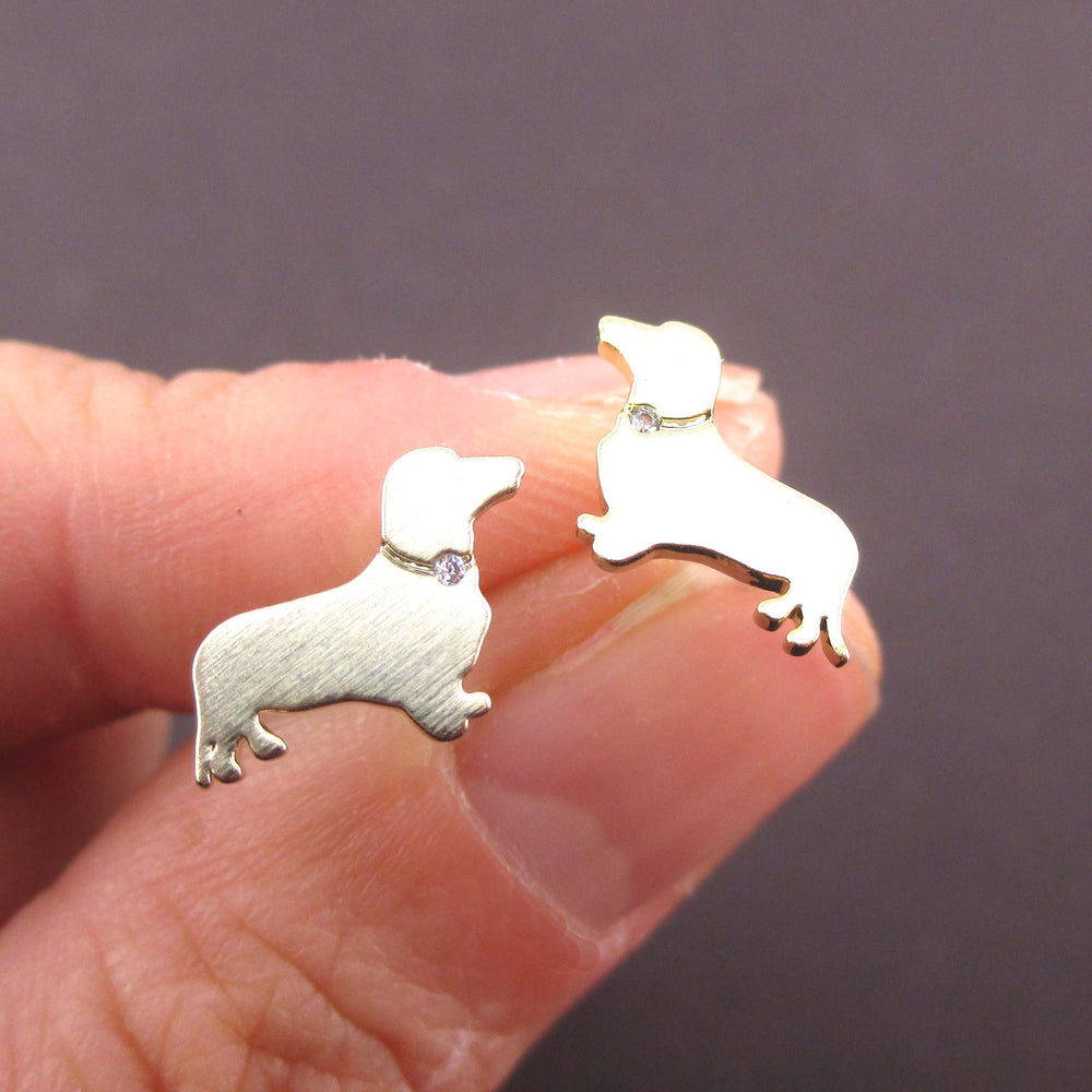 Dachshund Sausage Dog Shaped Stud Earrings with Rhinestones in Gold