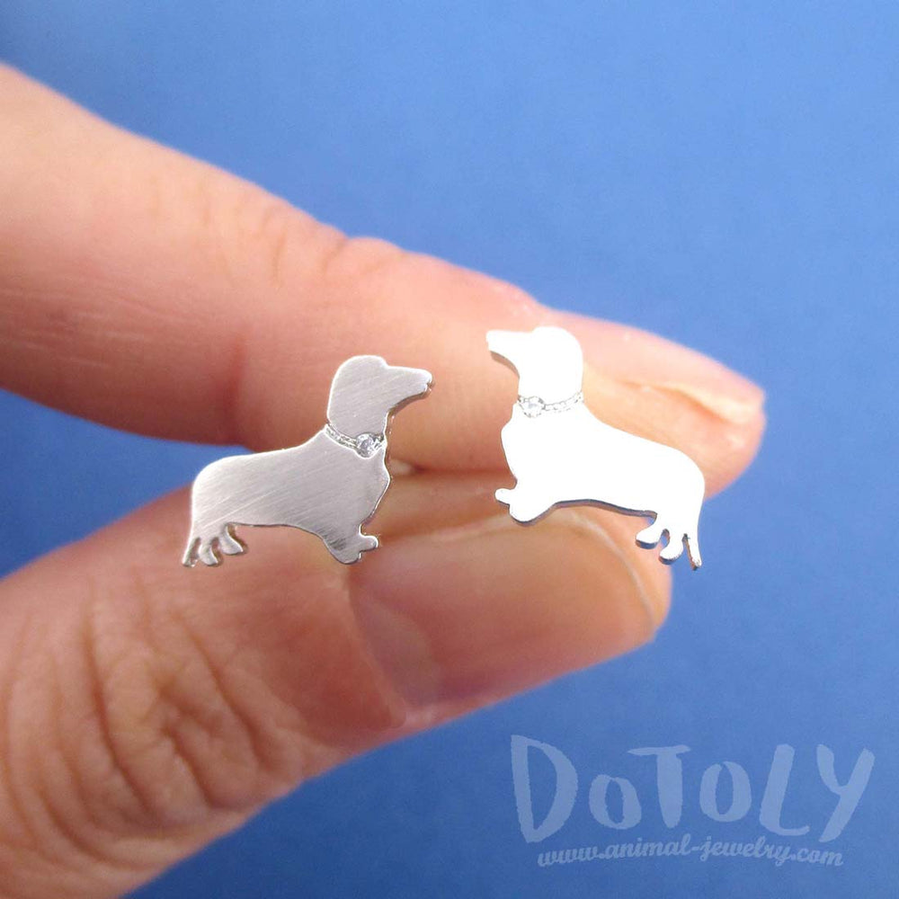 Dachshund Sausage Dog Shaped Stud Earrings with Rhinestones in Silver