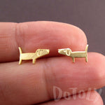 Dachshund Sausage Wiener Dog Shaped Stud Earrings in Gold | DOTOLY