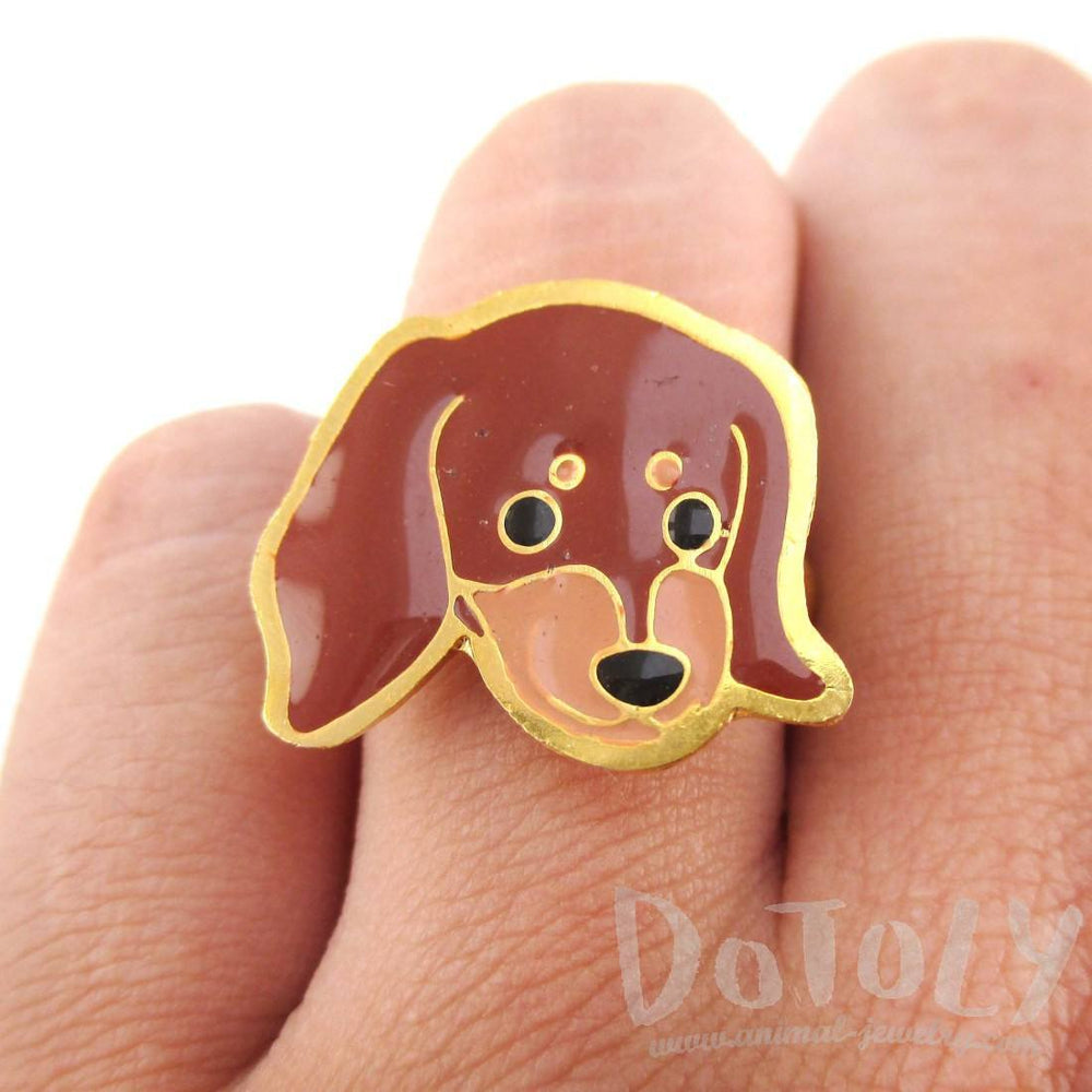 Dachshund Weiner Puppy Dog Face Shaped Adjustable Animal Ring | DOTOLY