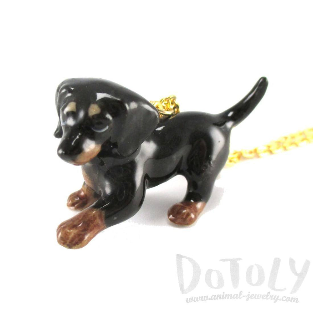 Dachshund Puppy Dog Porcelain Handmade Ceramic Animal Pendant Necklace