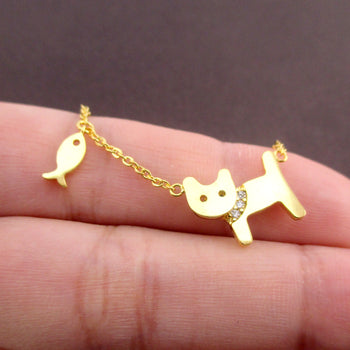 Dainty Kitty Cat and Fish Shaped Pendant Choker Necklace in Gold