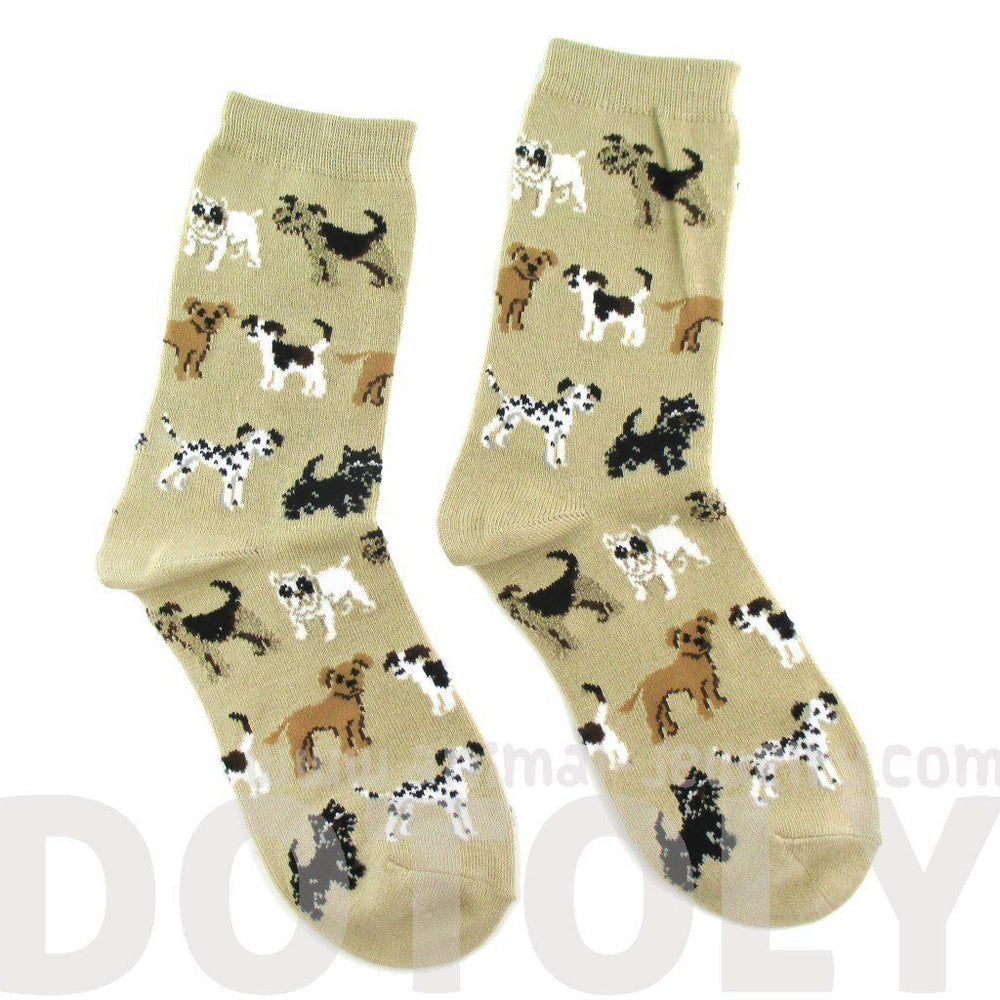 Dalmatian Bulldog Beagle Dog Breed Print Socks in Khaki