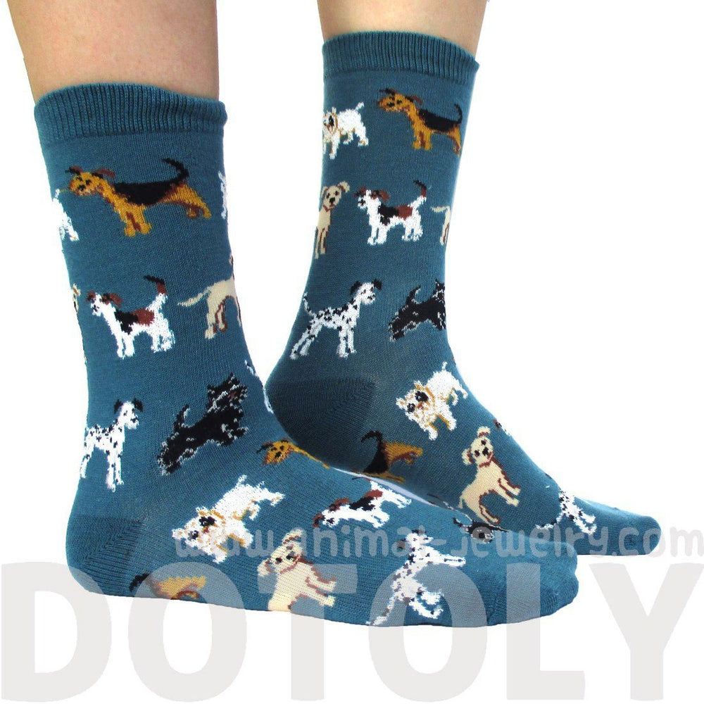 Dalmatian Bulldog Beagle Dog Breed Novelty Print Long Socks in Teal