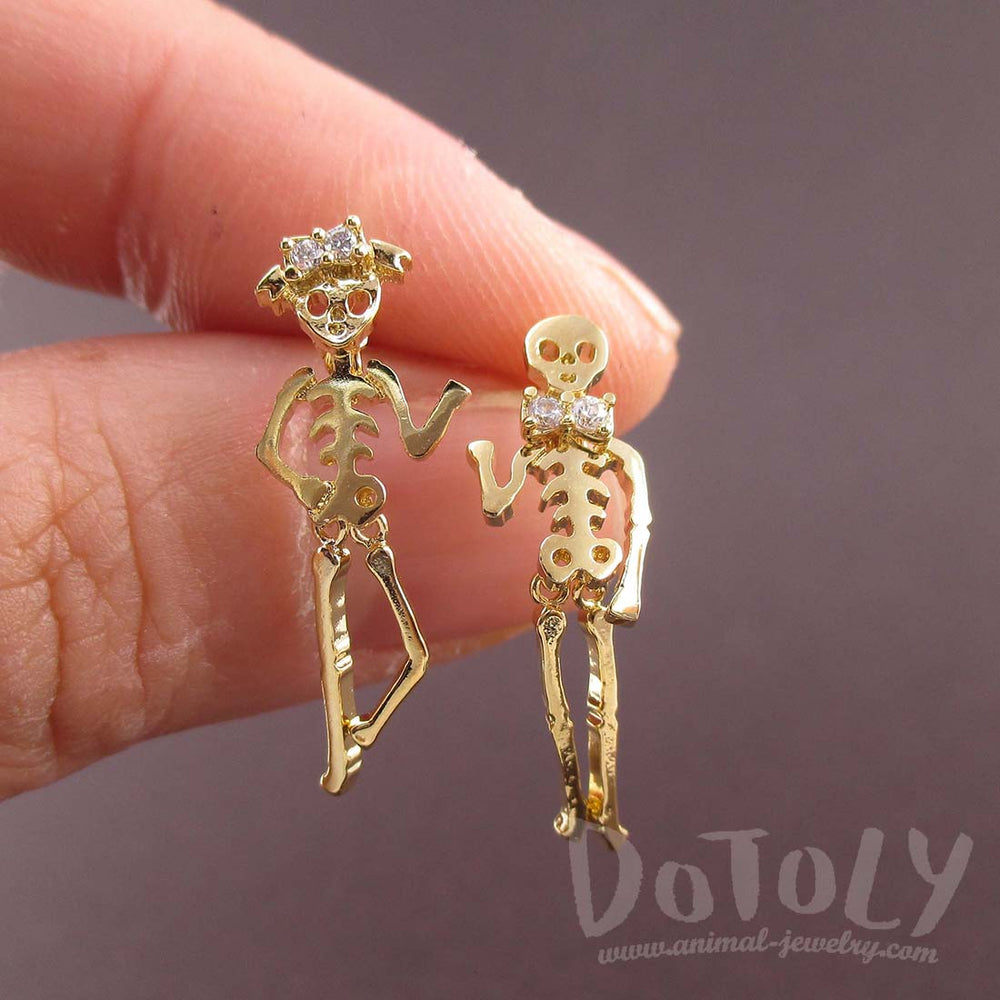 Dancing Skeletons Shaped Coco Dangle Drop Stud Earrings in Gold