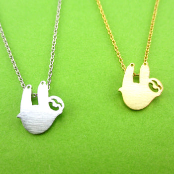 Dangling Sloth Silhouette Shaped Animal Pendant Necklace | DOTOLY
