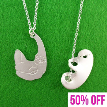 Dangling Three Toed Sloth Shaped Necklace 2 Piece Set | DOTOLY