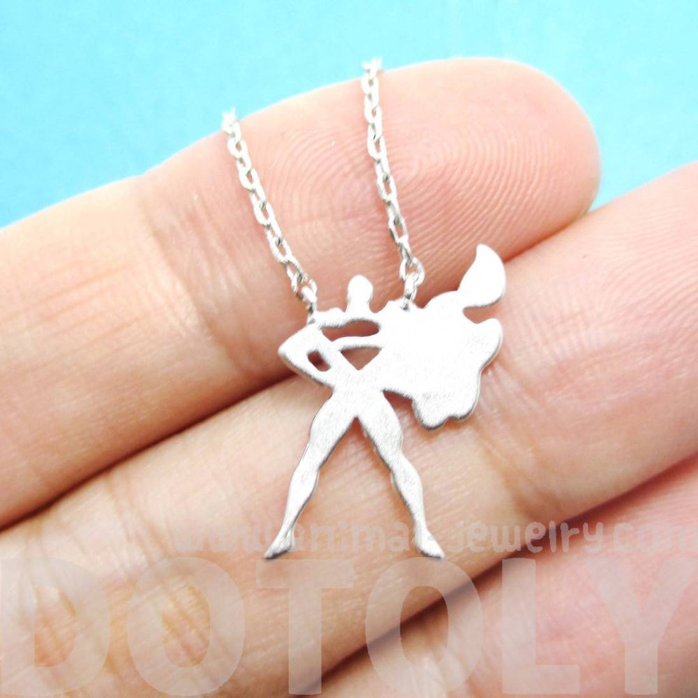 Superman Silhouette Shaped Pendant Necklace in Silver