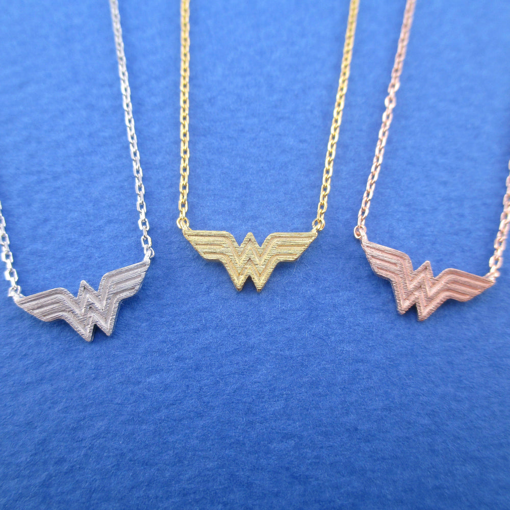 754f272bf3d26 DC Super Heroes Wonder Woman Logo Shaped Pendant Necklace – DOTOLY