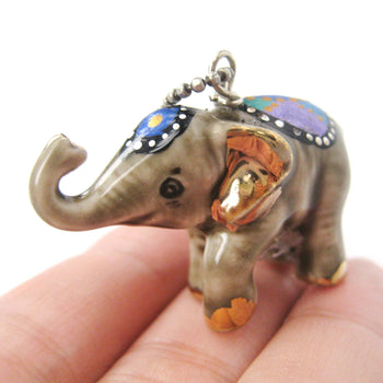 Decorative Elephant Porcelain Ceramic Handmade Animal Pendant Necklace